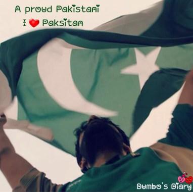 Boy with pakistani flag on head