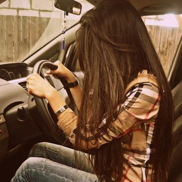Check shirt girl driving