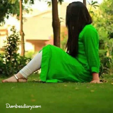 Girl in green cloth for independece day