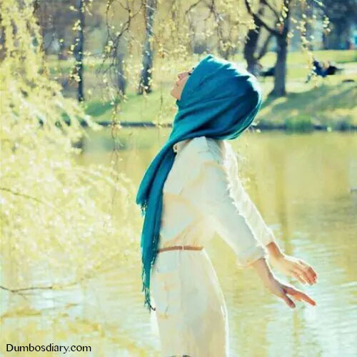Hijabi girl in pleasant weather