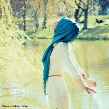 Hijabi girl in pleasant weather