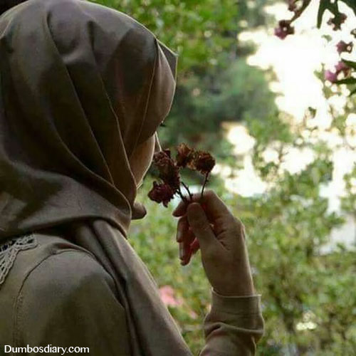 Hijabi girl with rose