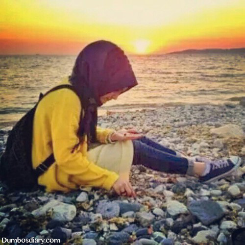 Muslim girl beautiful sun set