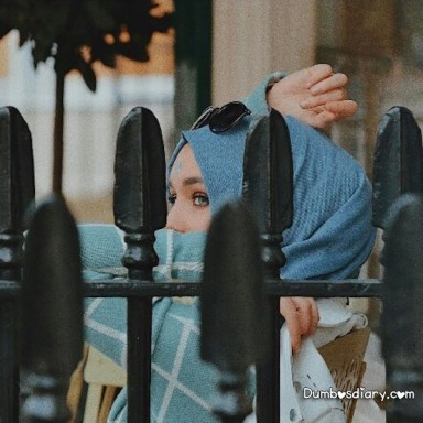 Pretty hijabi girl with hidden face