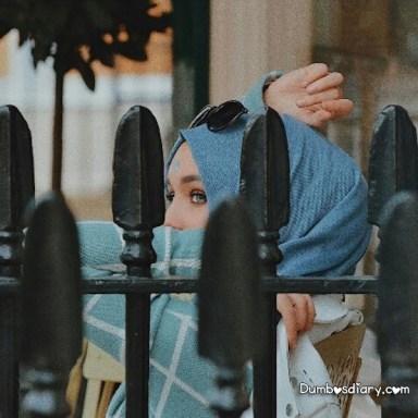 Pretty hijabi girl with hidden face