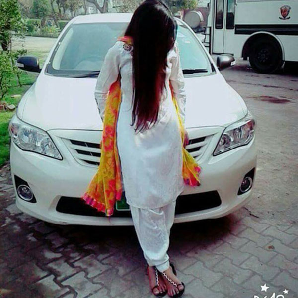 White dress girl with car