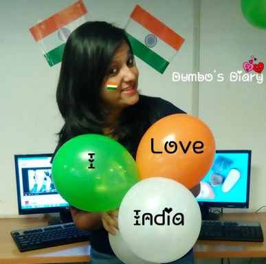 girl with tri color balloons on republic day
