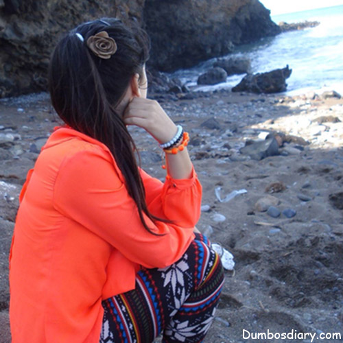 Stylish Girl On Beach