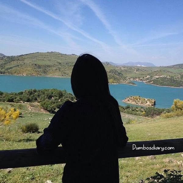 Girl In Black Abaya In Hilly Area
