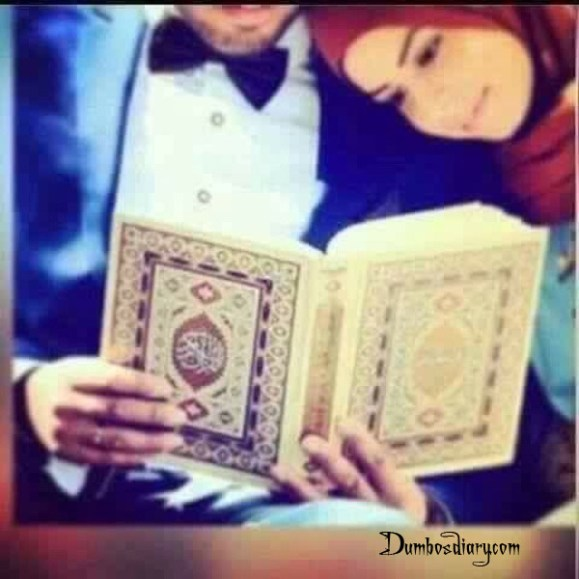Muslim couple reading Quran