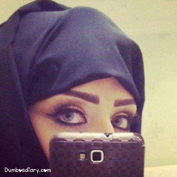 Beautiful Girl In Veil With Kajal Pretty Eyes Taking Selfie