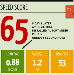 Page Load Speed with Autoptimizer Plugin