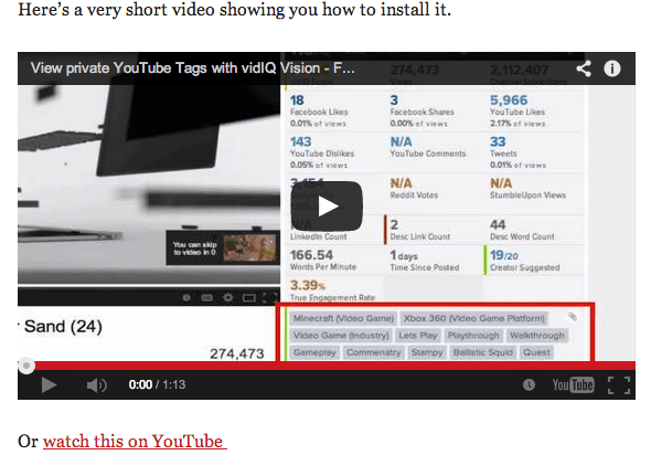 YouTube link with Embed
