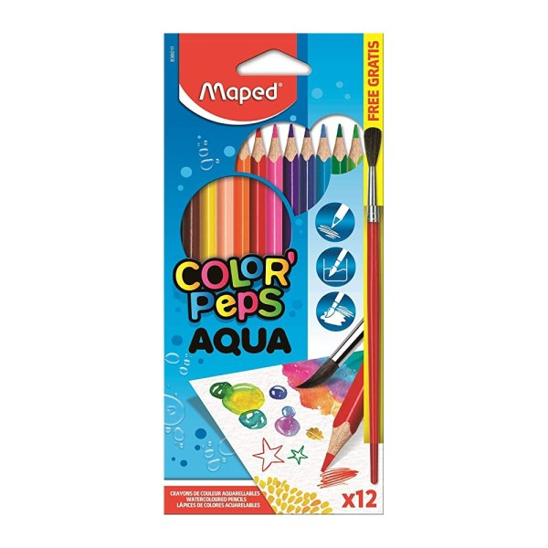 LAPICES COLORES MAPED ACUARELABLE CON PINCEL