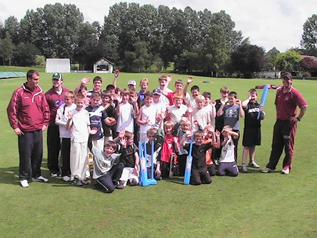 The Cricket Camp takes a break for a team photo.