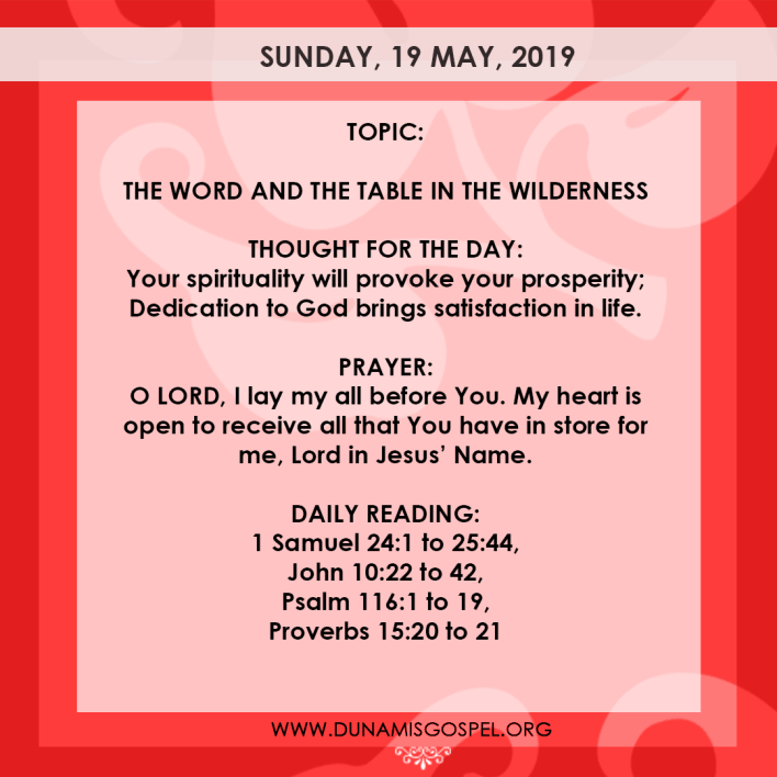 Seeds of Destiny 19 May 2019, Seeds of Destiny 19 May 2019 – The Word And The Table In The Wilderness