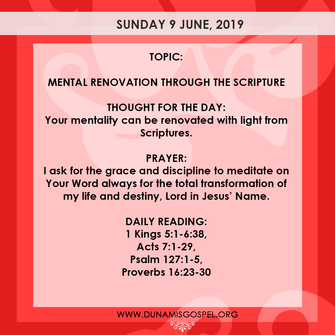 Seeds of Destiny 9 June 2019 - Mental Renovation Through The Scripture