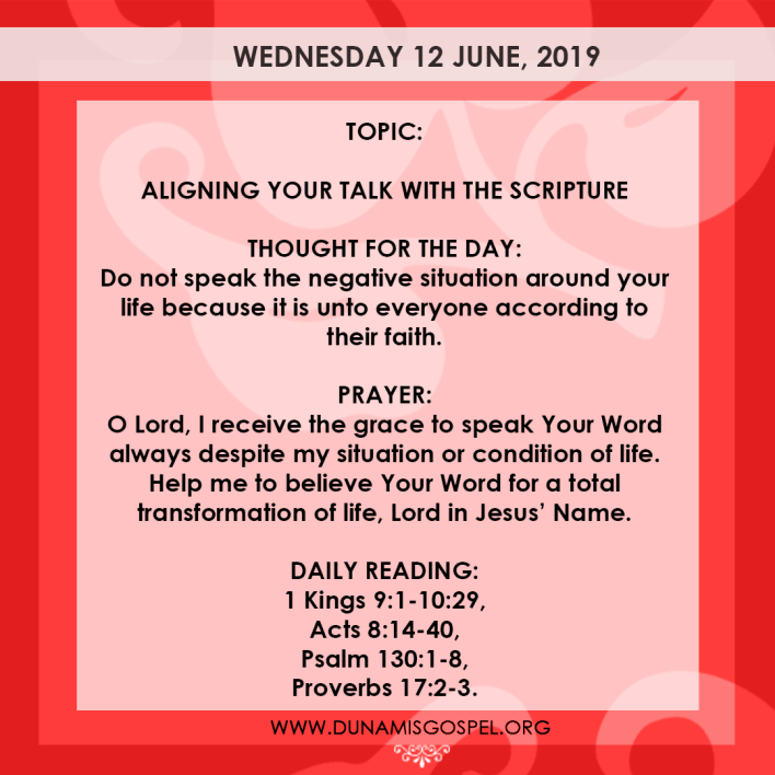 Seeds of Destiny 12 June, Seeds of Destiny 12 June 2019 – Aligning Your Talk With The Scripture