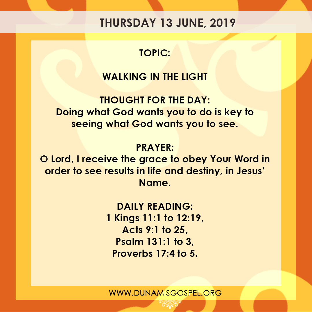 Seeds of Destiny 13 June, Seeds of Destiny 13 June 2019 – Walking In The Light