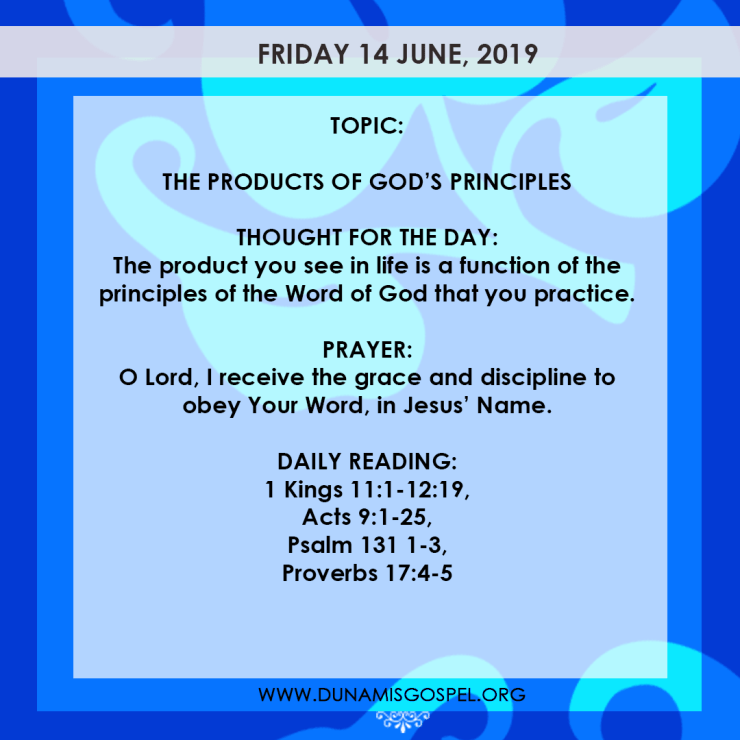 Seeds of Destiny 14 June, Seeds of Destiny 14 June 2019 – The Products of God's Principles