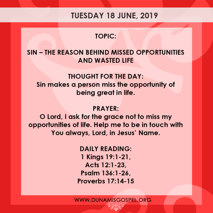 Seeds of Destiny 18 June 2019 - Sin: The Reason Behind Missed Opportunity And Wasted Life