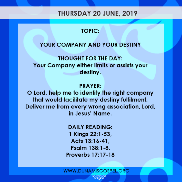 Seeds of Destiny 20 June 2019 - Your Company And Your Destiny