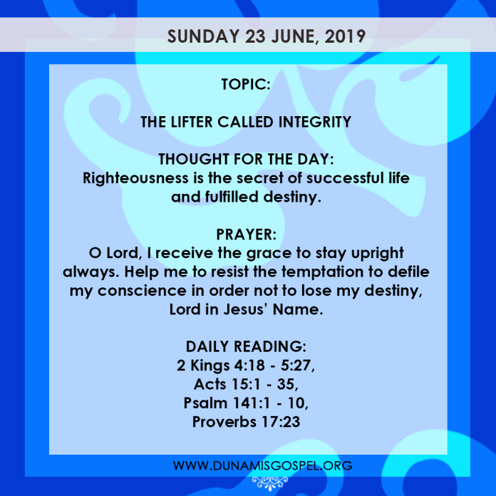 Seeds of Destiny 23 June, Seeds of Destiny 23 June 2019 – The Lifter Called Integrity