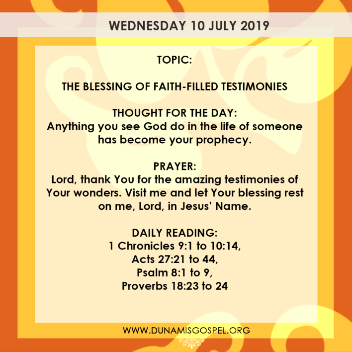 Seeds of Destiny 10 July 2019, Seeds of Destiny 10 July 2019 – The Blessing of Faith-Filled Testimonies