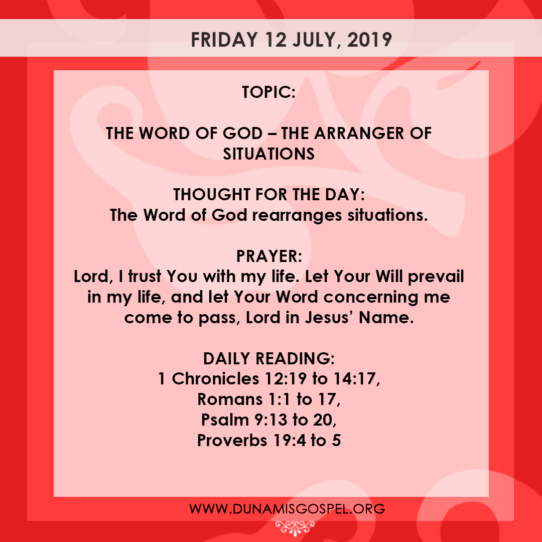 Seeds of Destiny 12 July 2019, Seeds of Destiny 12 July 2019 – The Word of God: The Arranger of Situations