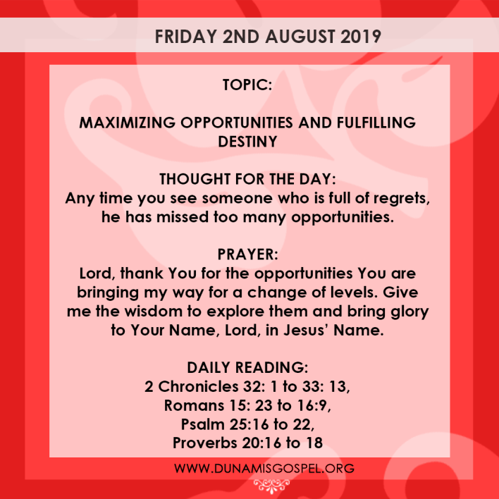 Seeds of Destiny 2 August 2019, Seeds of Destiny 2 August 2019 – Maximizing Opportunities And Fulfilling Destiny