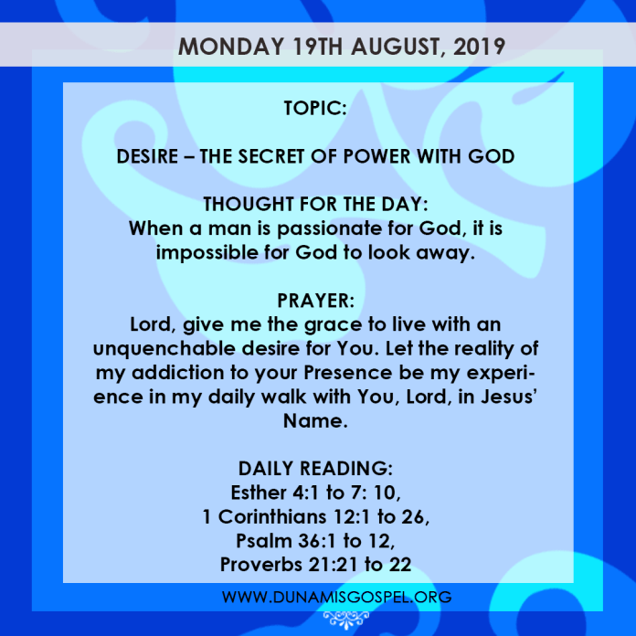 Seeds of Destiny 19 August 2019, Seeds of Destiny 19 August 2019 – Desire: The Secret of Power With God