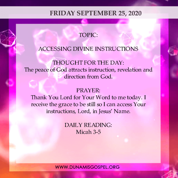Seeds of Destiny 25th September 2020, Seeds of Destiny 25th September 2020 Today Friday – Accessing Divine Instruction