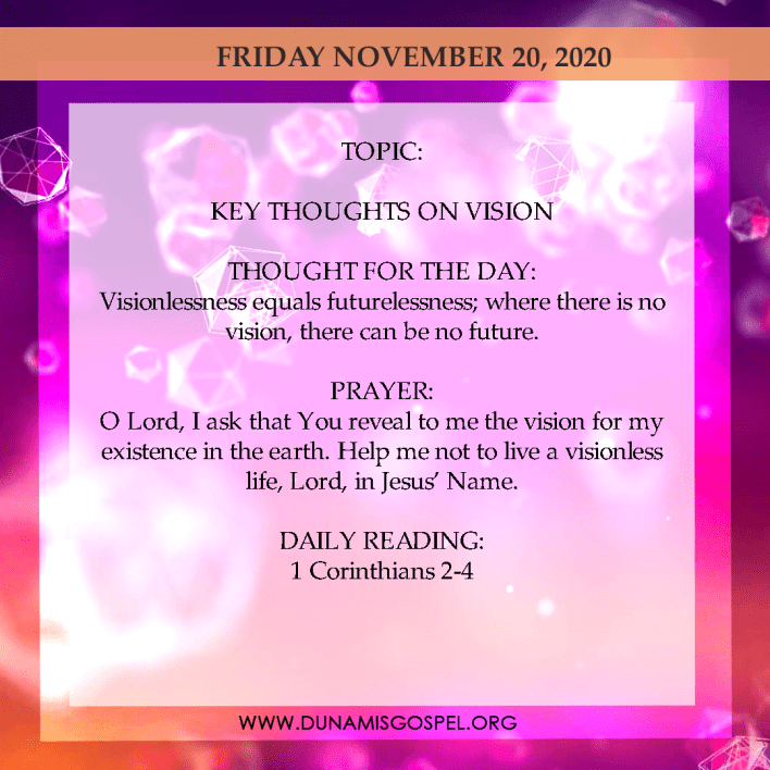 Today Seeds of Destiny 20th November 2020 Devotional - Key Thoughts On Version