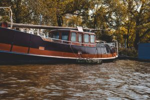 orange and brown boat