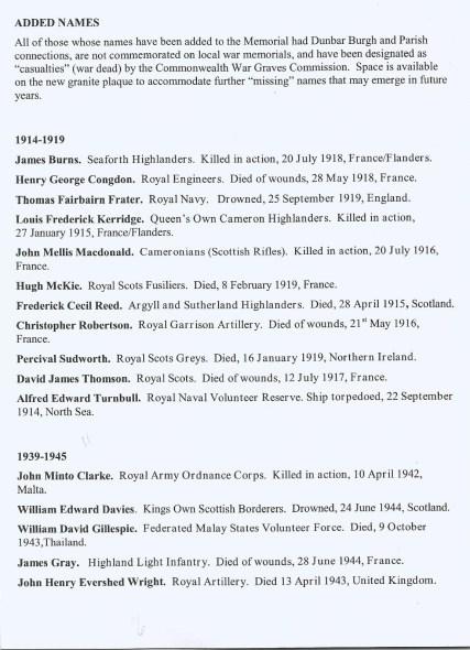 NUMBER 6 - War Memorial added names