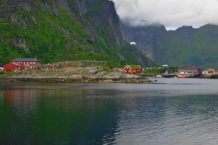 Reine, Moskenesøya Island, Lofoten Archipelago, Norway ~ Wooden fish stock curing racks - ...behind every picture, there is a story...