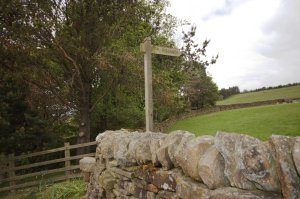 Footpath Sign in Lothersdale to Pinhaw Beacon on Elslack Moor, Craven, North Yorkshire, England