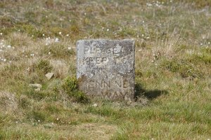 Pennine Way Footpath Sign by Pinhaw Beacon on Elslack Moor, Craven, North Yorkshire, England