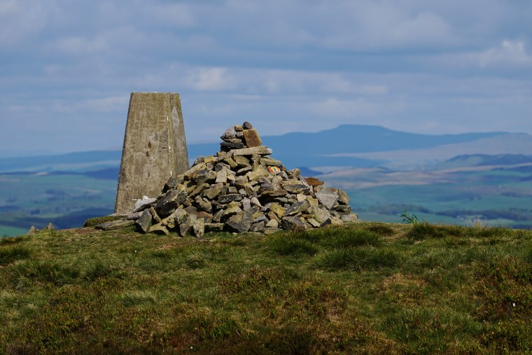 Pinhaw Beacon with Ingleborough in the background, Elslack Moor, Craven, North Yorkshire, England - ...behind every picture, there is a story...