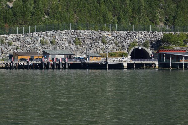 Amla tunnel entrance from the Laerdal to Sogndal ferry on Sognefjord