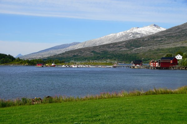 Flostrand on northern bank of Sjona Fjord, Norland County, Norway