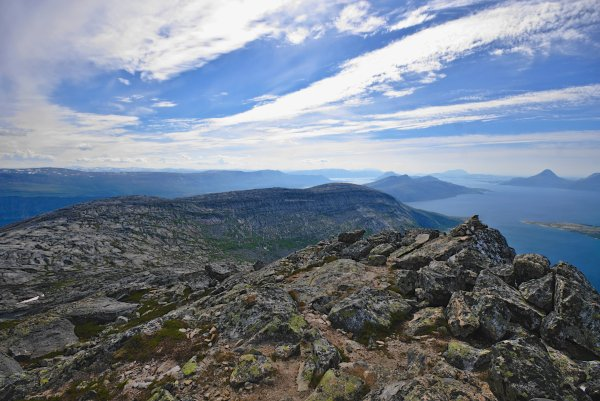 Summit of Smaltinden (782m) looking south over Sjona Fjord, Norland County, Norway