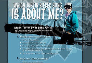Justin Beiber Quiz Website