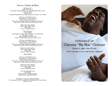 Clarence Clemons Funeral Brochure