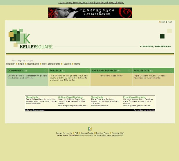 Kelley Square Classifieds Website