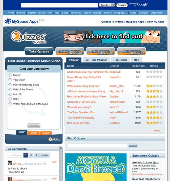 MySpace Qiuzzes Website