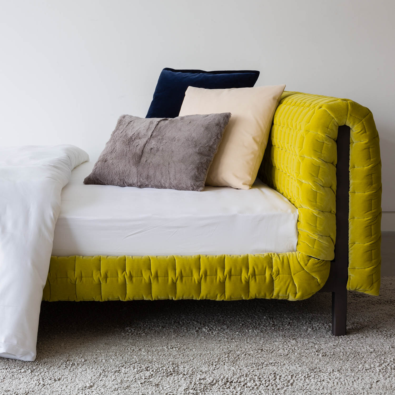 Interior design detailing, bedding and cushions