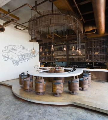 A photograph of the restaurant interior of Slider Station in Muscat, Oman