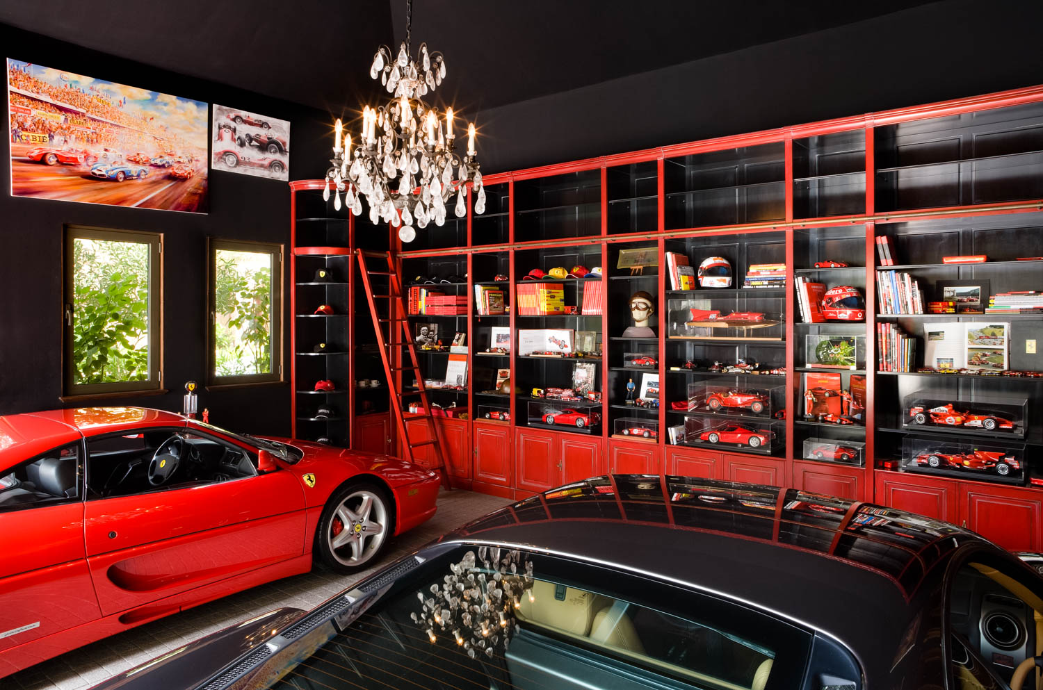 Interior Photography of a car garage in a private luxury villa on the Palm Jumeriah, Dubai