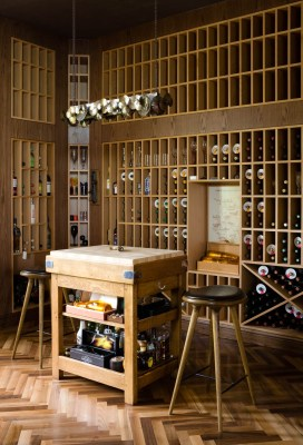 A photograph of a luxury wine cellar in a villa on the Palm Jumeriah, Dubai